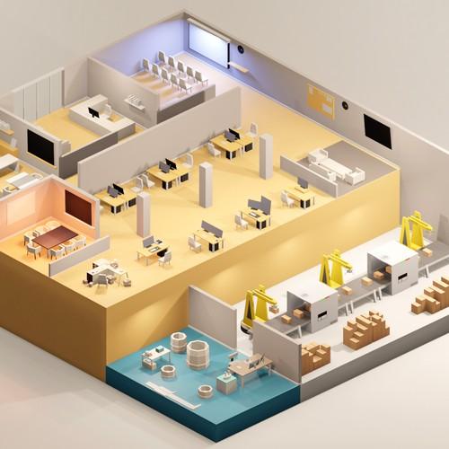 Isometric 3D Office