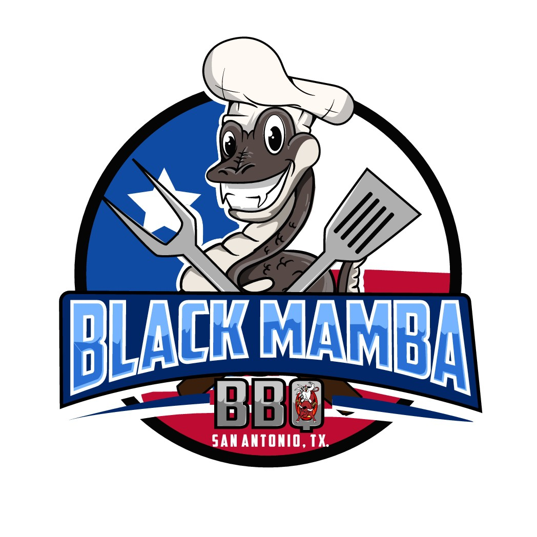 Fun distinguishable logo for our Black Mamba Texas BBQ competition team