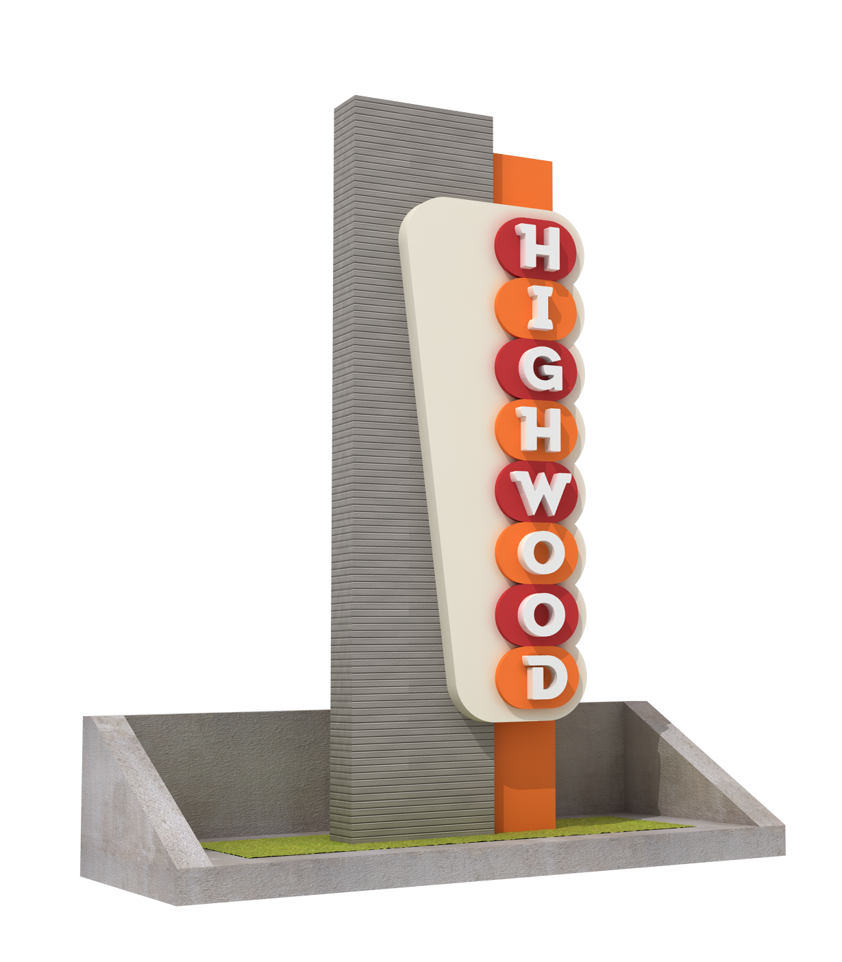 Entrance Welcome Sign to the City of Highwood