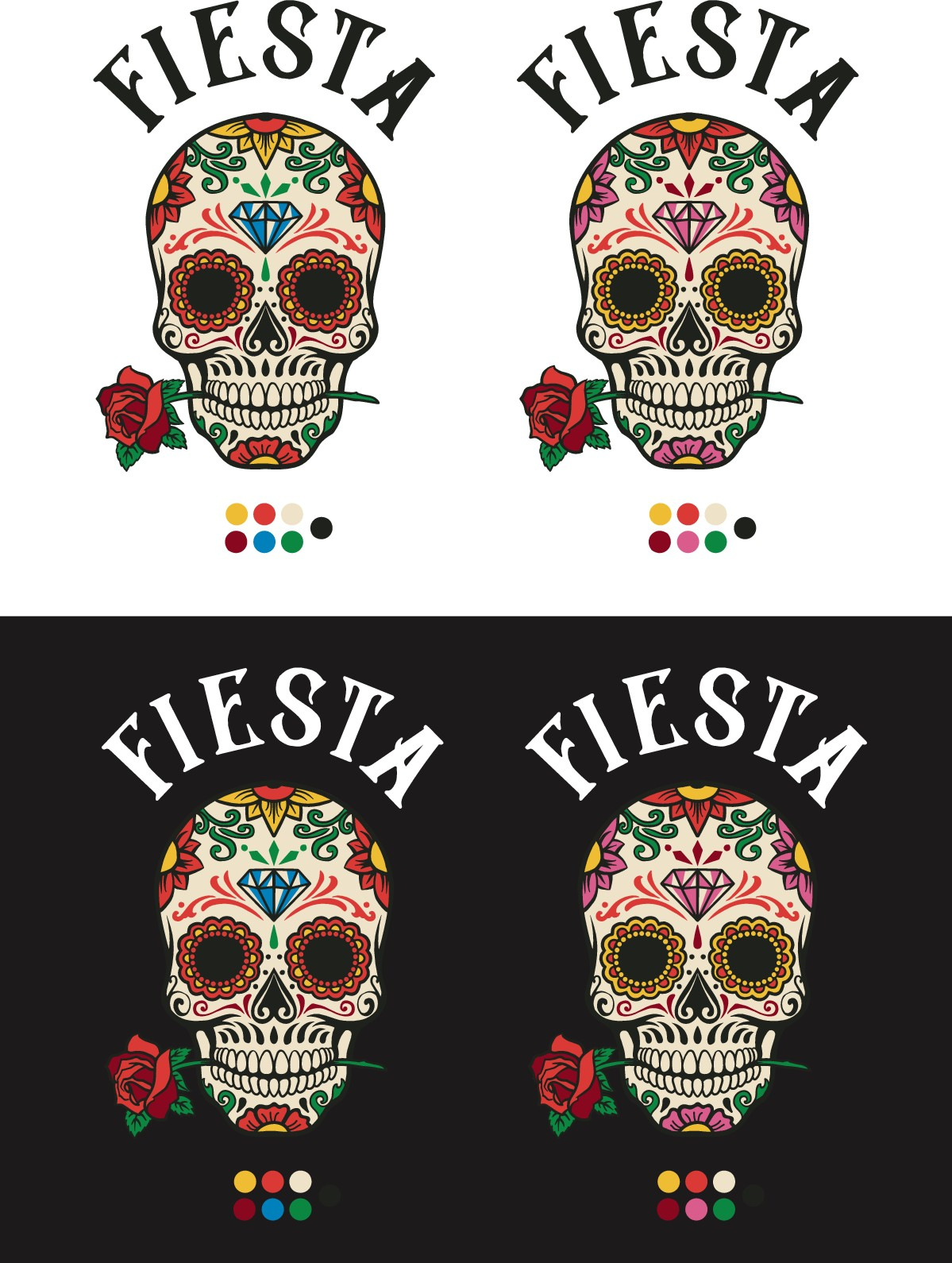 Reduce color and simplify skull design