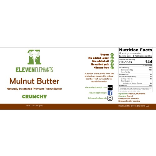 Label concept for a brand of peanut butter