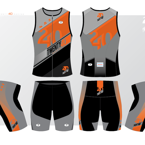 Design a creative racing triathlon kit for Twenty40 Racing.