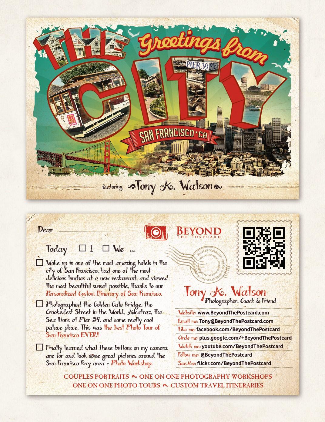 Cool Flyer with a postcard style design for tour/photography business