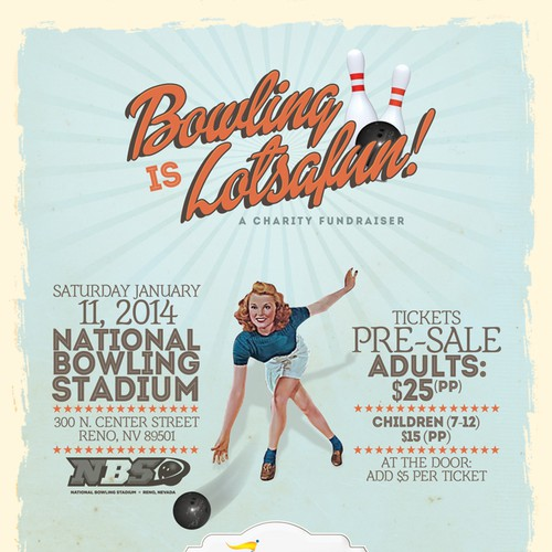 Design a Fun American Retro Bowling Event Flyer / Poster for a Charity Fundraiser!