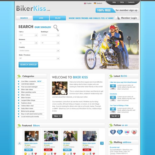 Bikerkiss.com redesign homepage