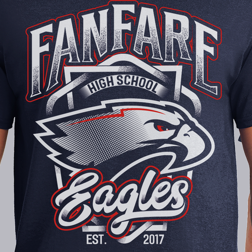 Athletic T-Shirt Design for Fanfare High School Eagles