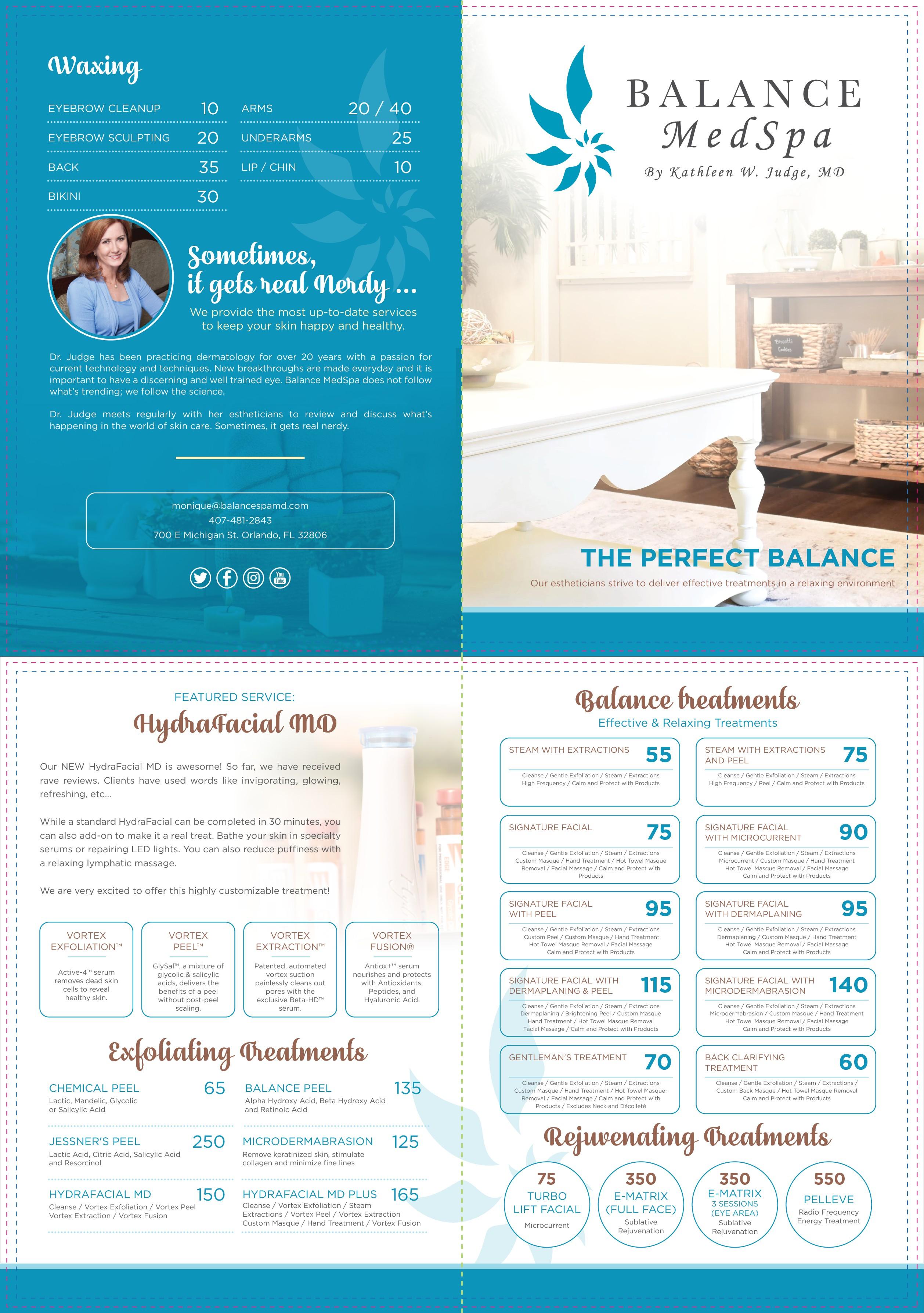 Create an elegant brochure for Balance MedSpa