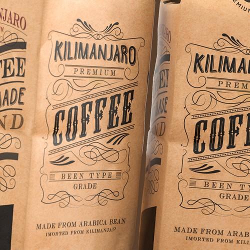 Kilimanjaro Coffee bag design.