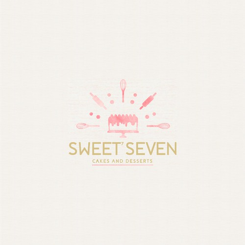 Watercolor themed Logo design for SWEET SEVEN