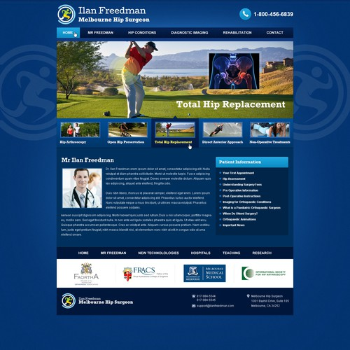 website design for Melbourne Hip Surgeon