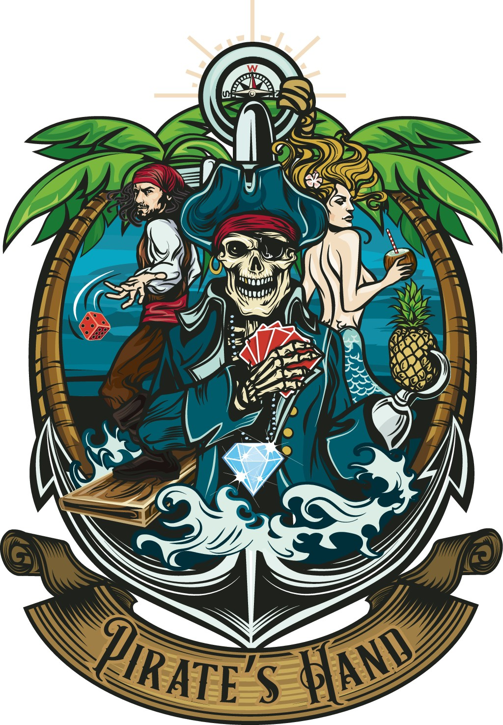 A Tropical Pirate themed logo for a card game.