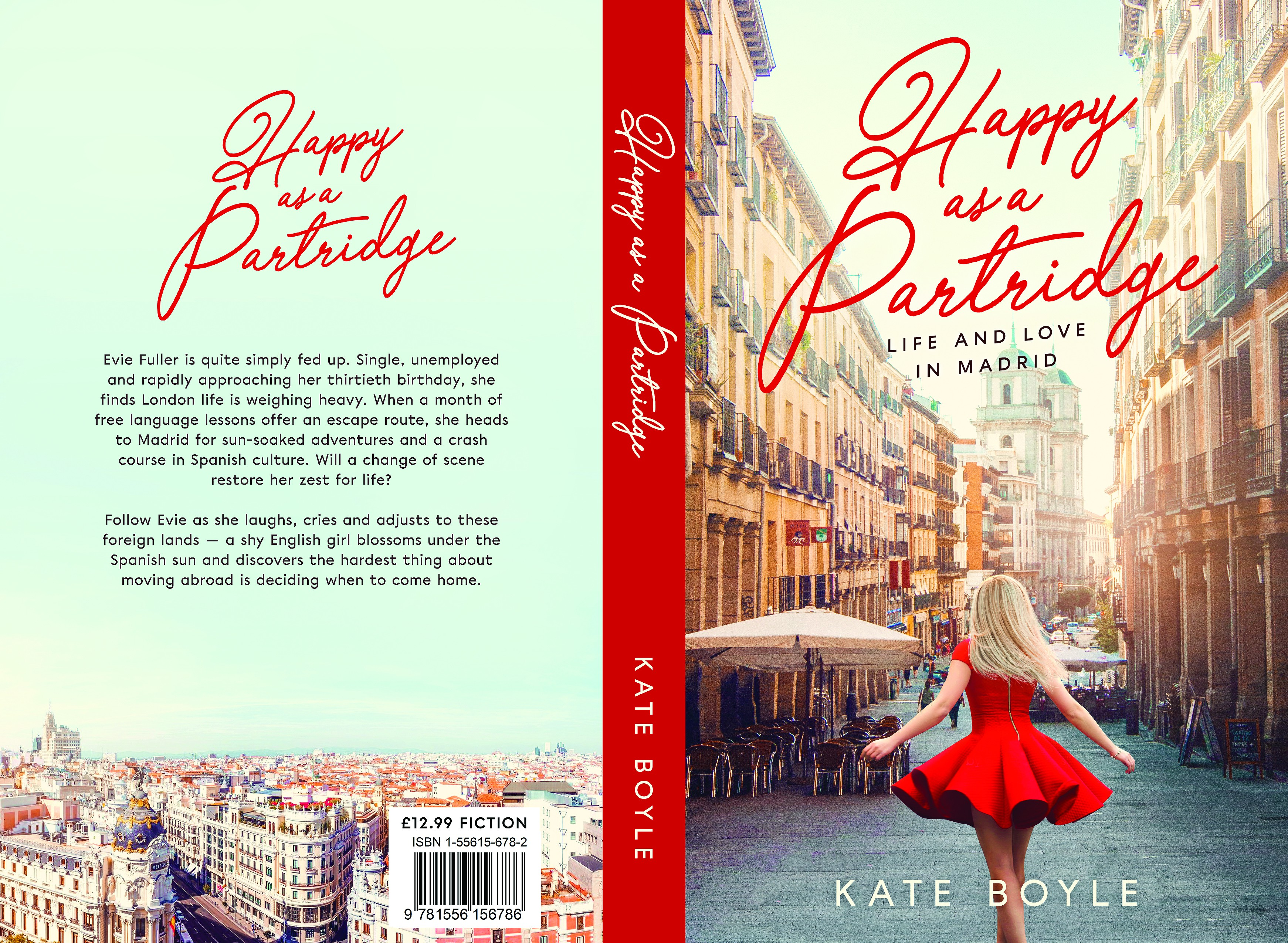 Design a book cover for a modern commercial women's novel about Spain
