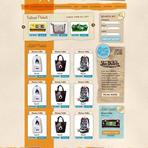 Layout for online-shop for handmade sports and lifestyle goods