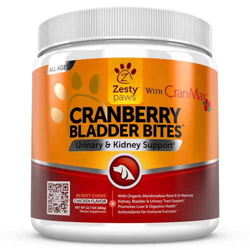 Cranberry Bladder Bites 3D Image for Zesty Paws