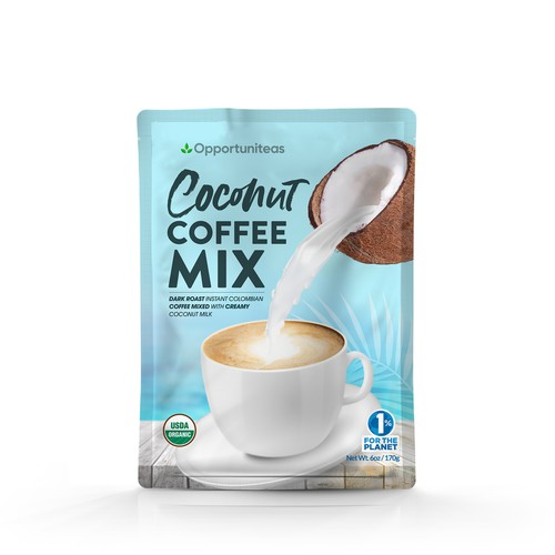 Design organic coconut coffee mix packaging