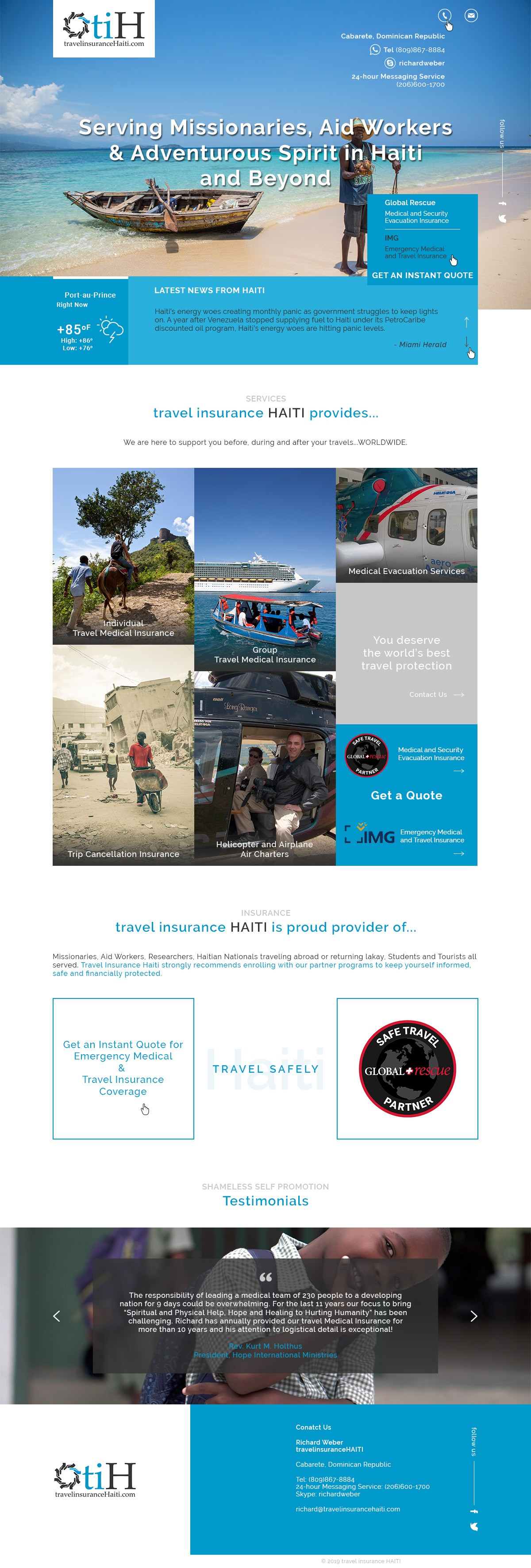 Design a Static Landing Page for Travel Insurance Haiti