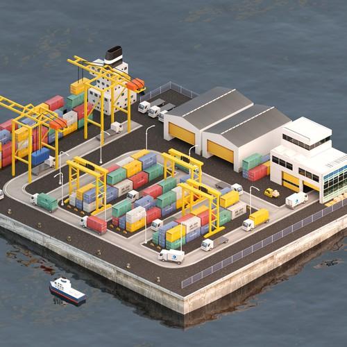 Realistic 3D isometric cargo port scene