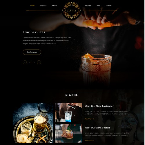 Top Level Bartending Web Design (Wordpress Template)