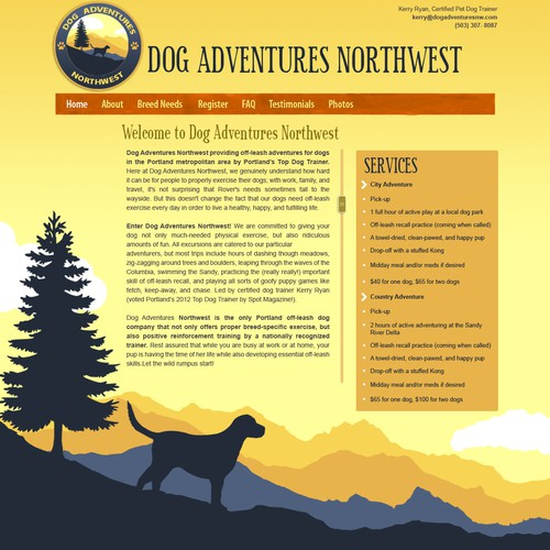 Website concept for Dog Adventures Northwest