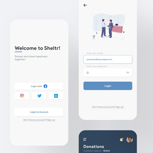 Design prototype for a donating mobile platform