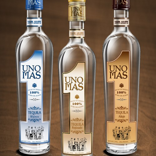 UNO MAS TEQUILA - Bottle design