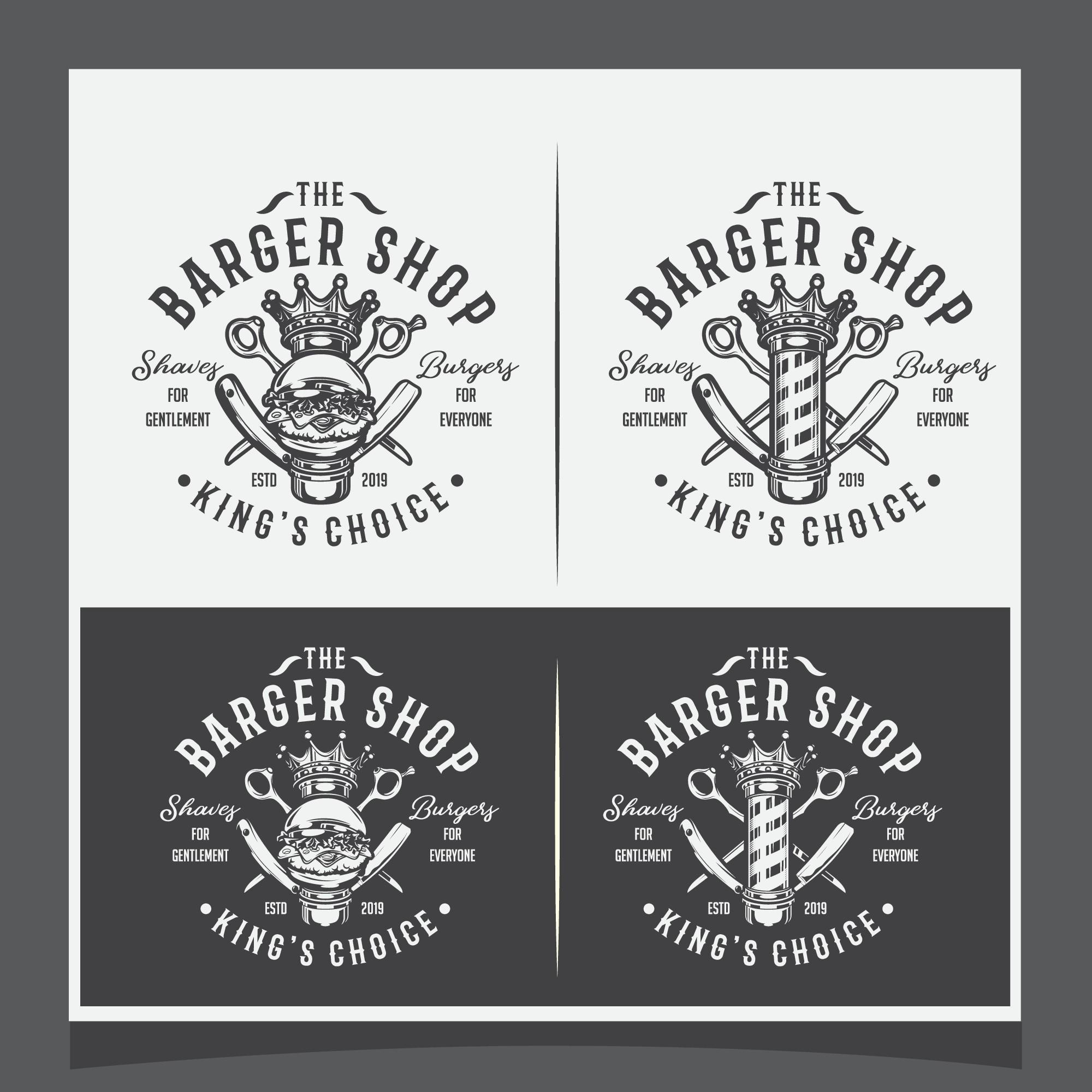 Cool but decent logo for The Barger Shop (Barber n' Burger)