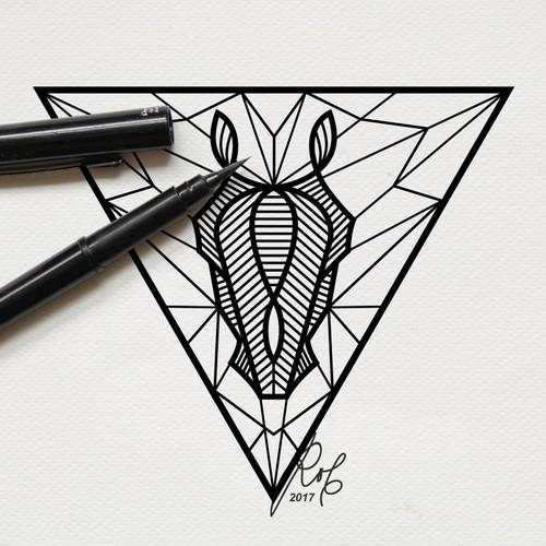 A tattoo design horse geometric pattern