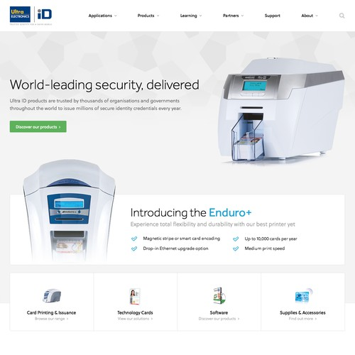 Website for an identification security manufacturer