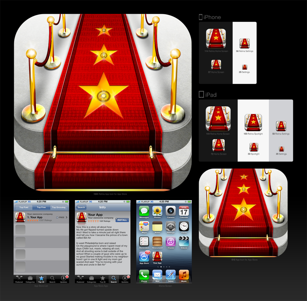 New icon or button design wanted for iPhone app Celebrify Me