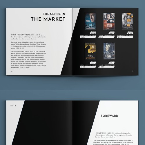 Brochure layout for sleek film company