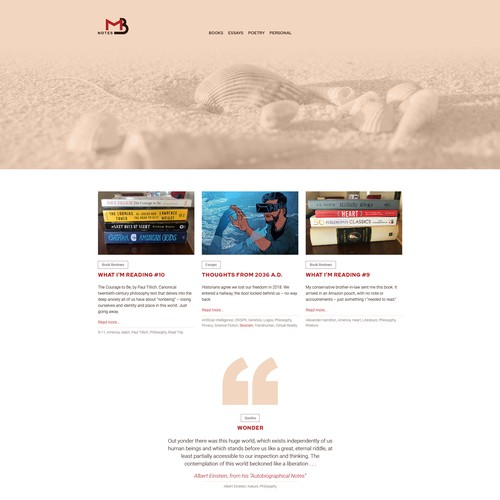 Website design for blog on writing