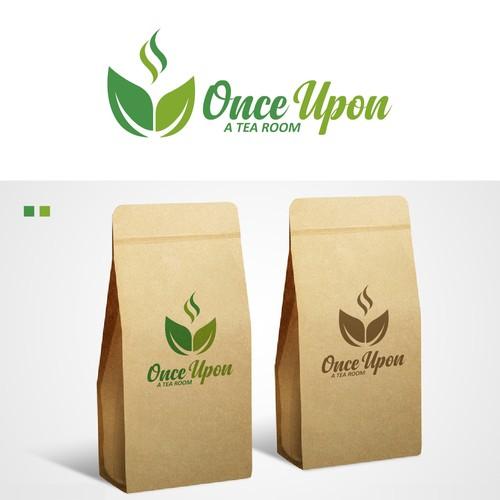 once upon a tea room logo vector
