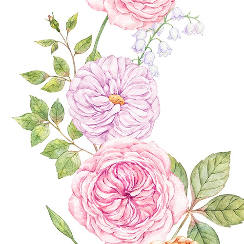 Watercolor floral illustration for thank you cards, wedding invitations, etc