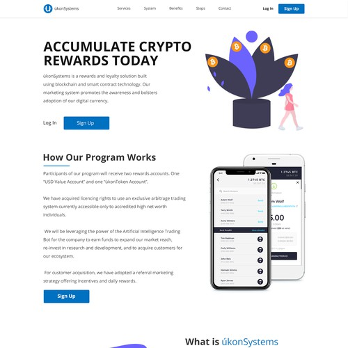 Web Page Design for cryptocurrency