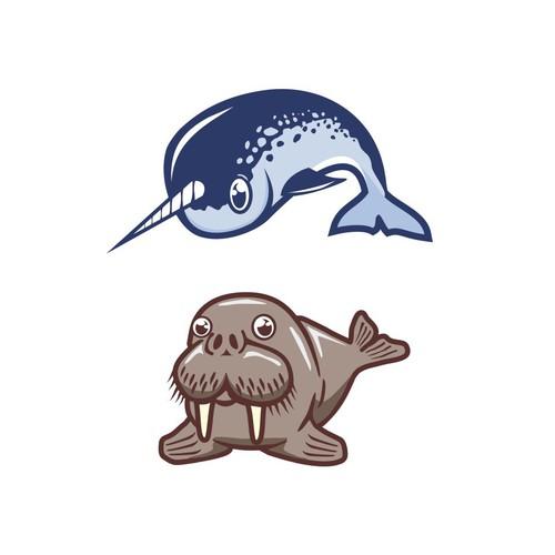 Walrus Narwhal mascot