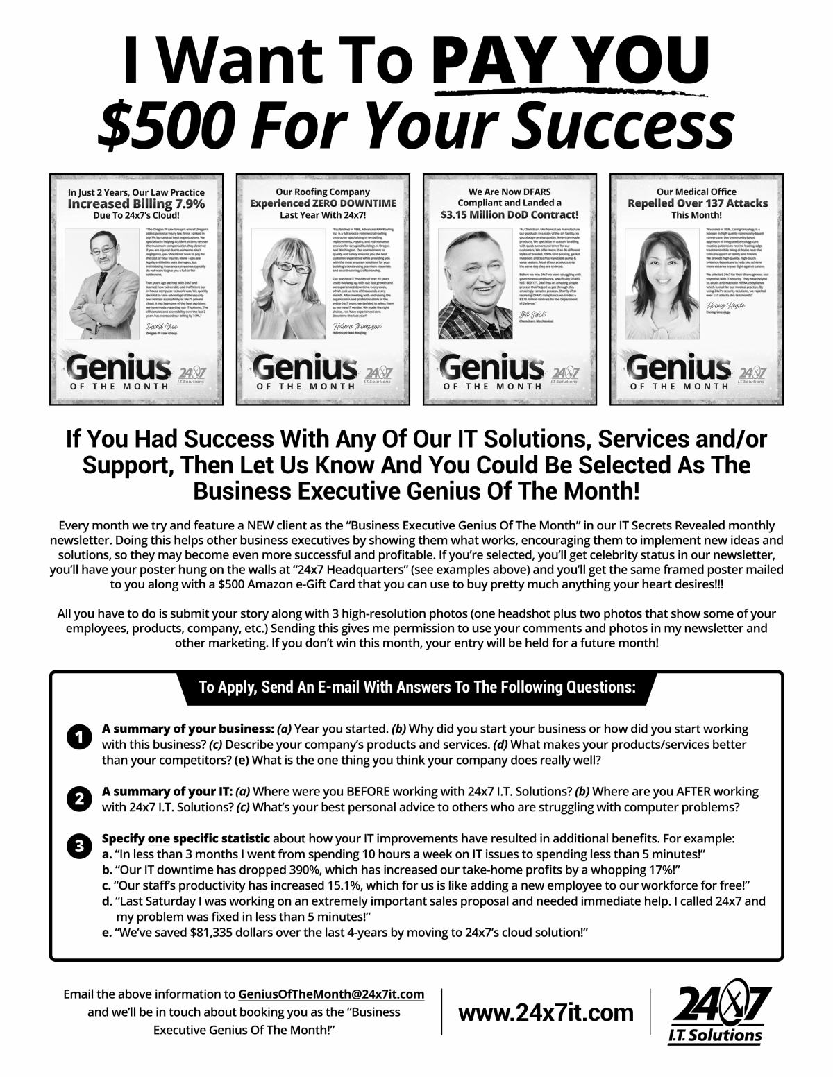 24x7it GENIUS Of The Month poster and flyer