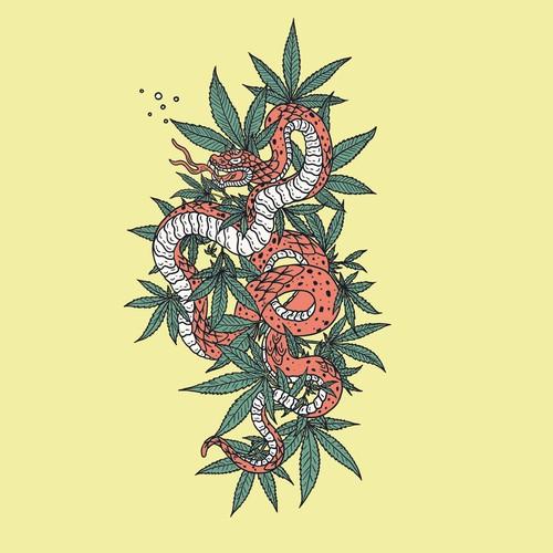 Cannabis snake T-shirt design