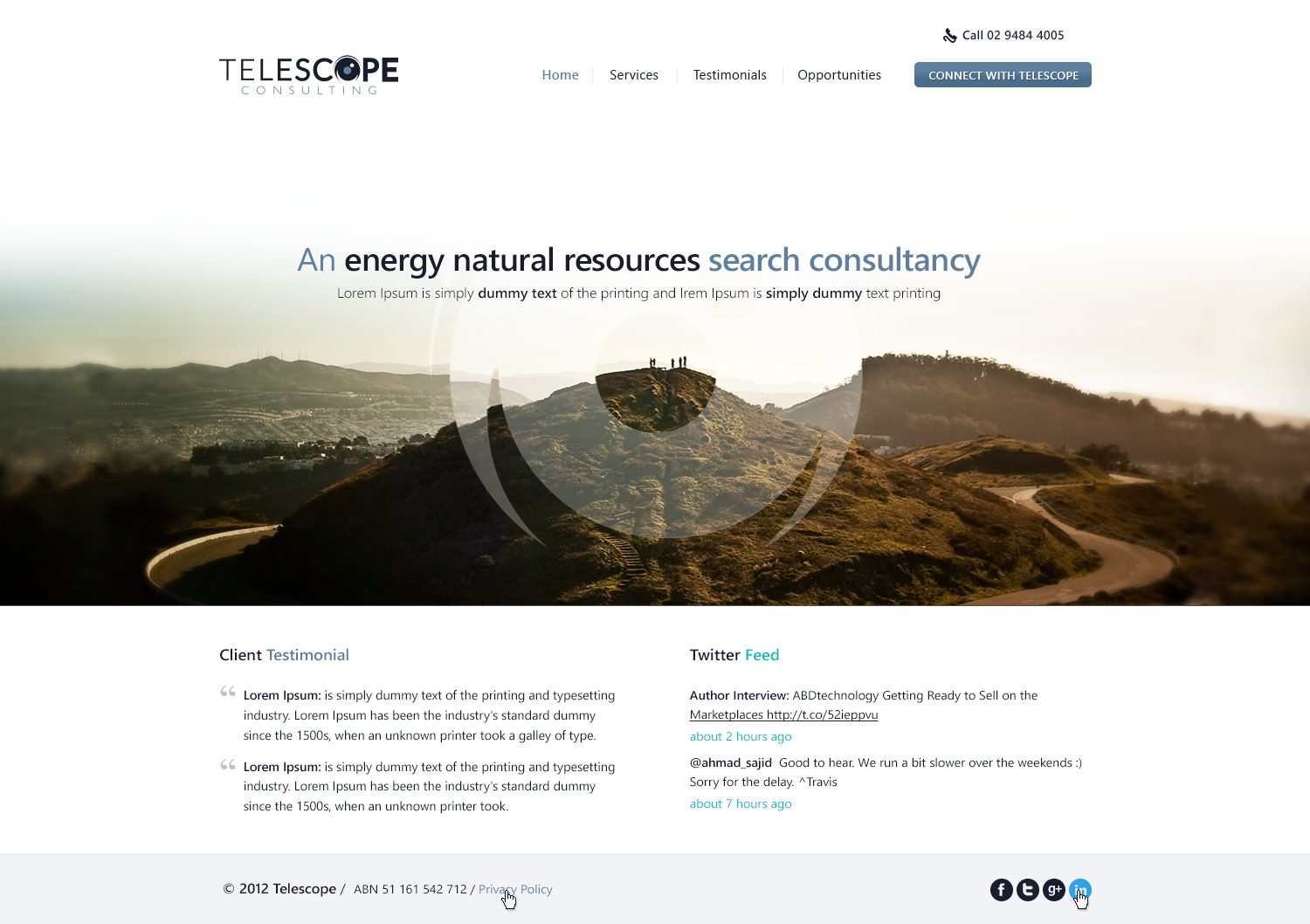 Help Telescope Consulting -  an energy/natural resources search consultancy with a new website design