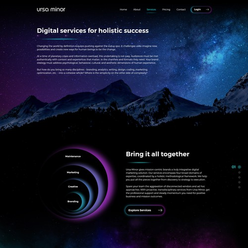 Futuristic Web Design with Space Theme for Digital Services Agency