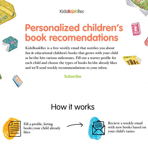 Landing page for children's book recommendation mailing list