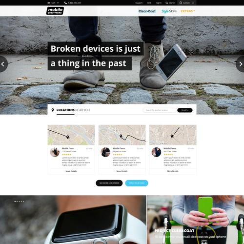 Clean, simple homepage layout
