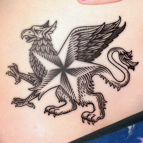 Gryphon-Star family tattoo