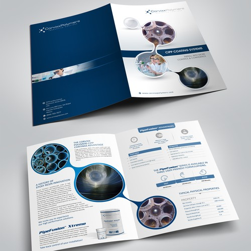 Design a 4 page product line brochure for our specialty chemical company!