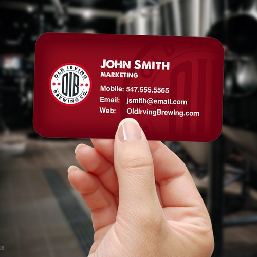 Business card design for brewing company
