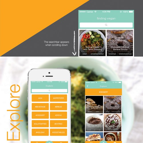 Design an App for popular food browsing website