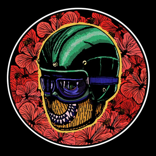 Smiling mask with motorcycle helmet