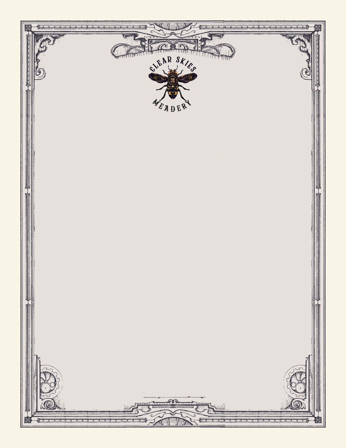 Create a steampunk bee template based on the labels for our menus.
