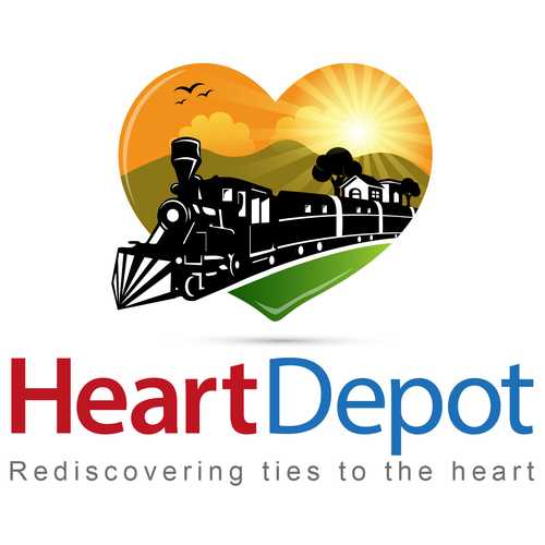 Create a unique and highly recognizable railroad-themed logo for Heart Depot