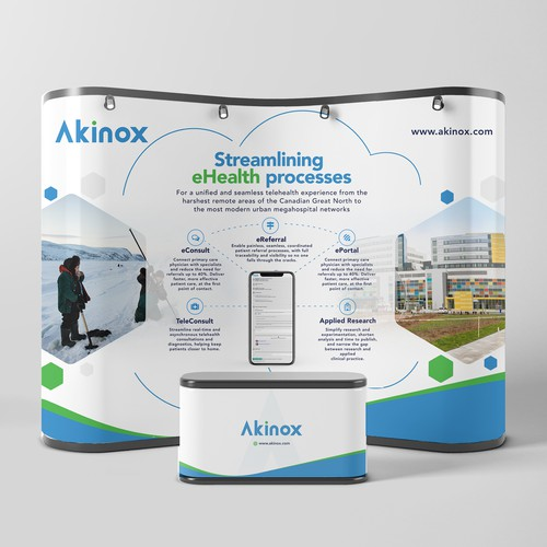 Eye-catching trade show booth banner design for cutting edge healthcare IT company