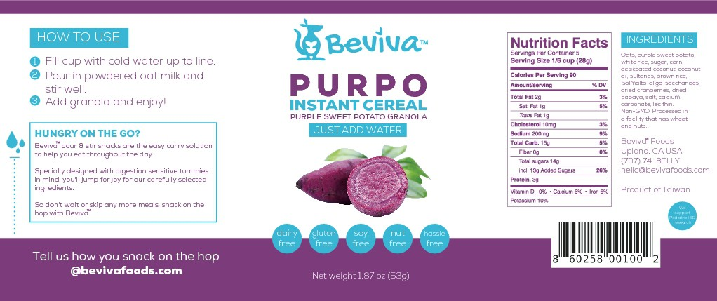 Design a Jumpy Label for Beviva's Pour & Stir Cereal Cup